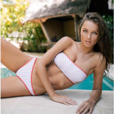 hatler neck stirpe bikini top & color line point stripe bikini pants